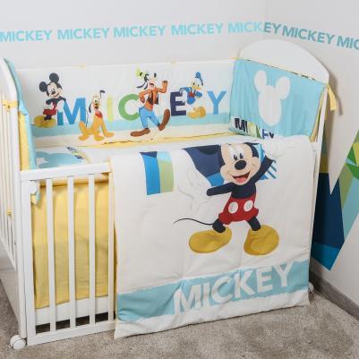 Bebi posteljina Mickey Mouse - sa ogradicom